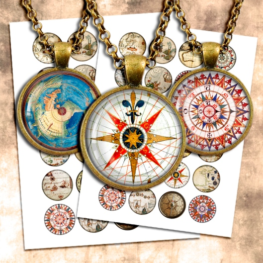 compass rose collage sheet