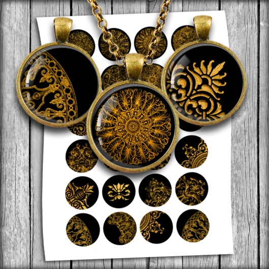 Digital Collage Sheet - Golden Victorian Ornaments