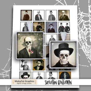 Printable square images Skeleton Gentleman